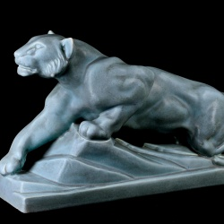 Art Deco French crackle glaze lioness signed by ODYV