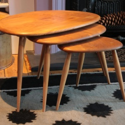 Original Ercol pebble nest tables Lucian Ercolani