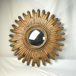 French 1950's sunburst mirror, wood