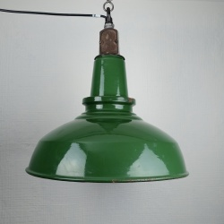 Large British green enamel light