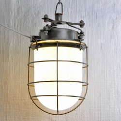 Large industrial opaline cage lights