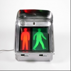 Pedestrian traffic light polished metal
