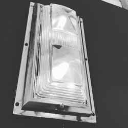 Art deco train light, wall or ceiling, Saint Gobain glass