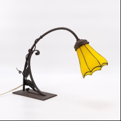 Table lamp circa 1915 iron and glass shade Loetz