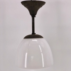 Art deco French opaline ceiling light with copper structure